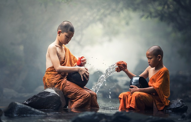 Culture of the human in form of two monks
