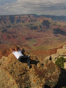 Jens relaxing next to the Grand Canyon
