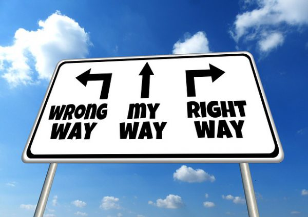 Arrows pointing towards the wrong way, my way and the right way