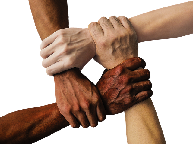 Synergy: hands holding the arms of others to be strong together